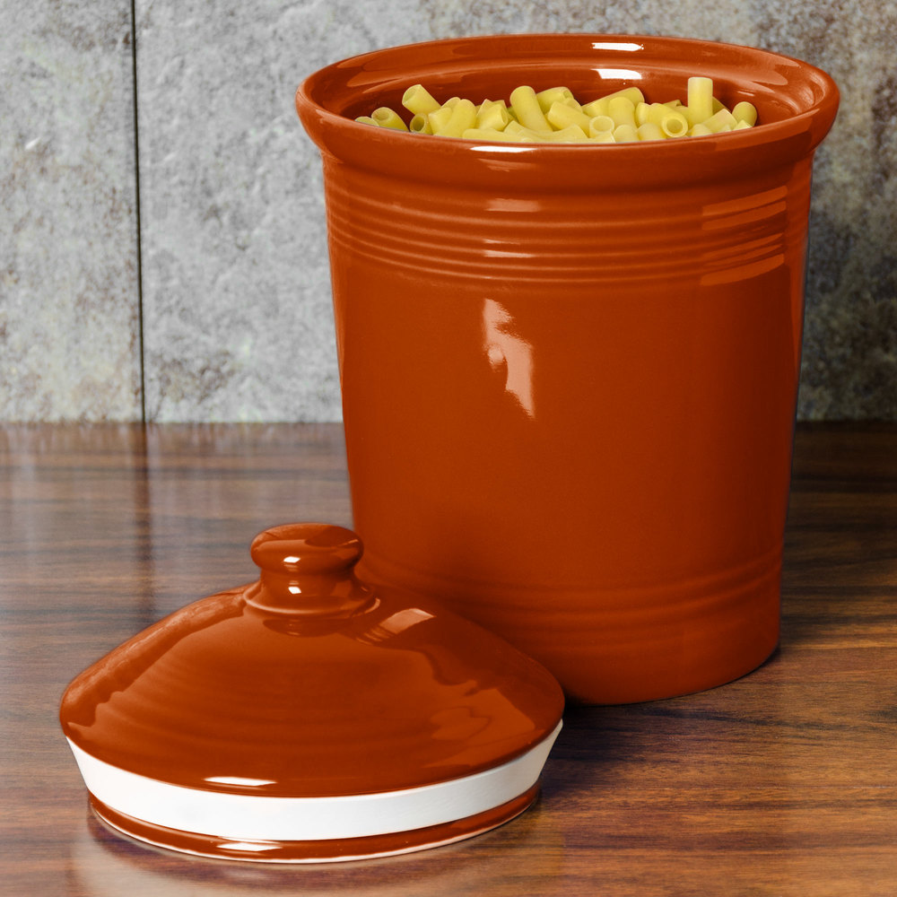 Homer Laughlin 571334 Fiesta Paprika Small 1 Qt. Canister with Cover - 2 / Case