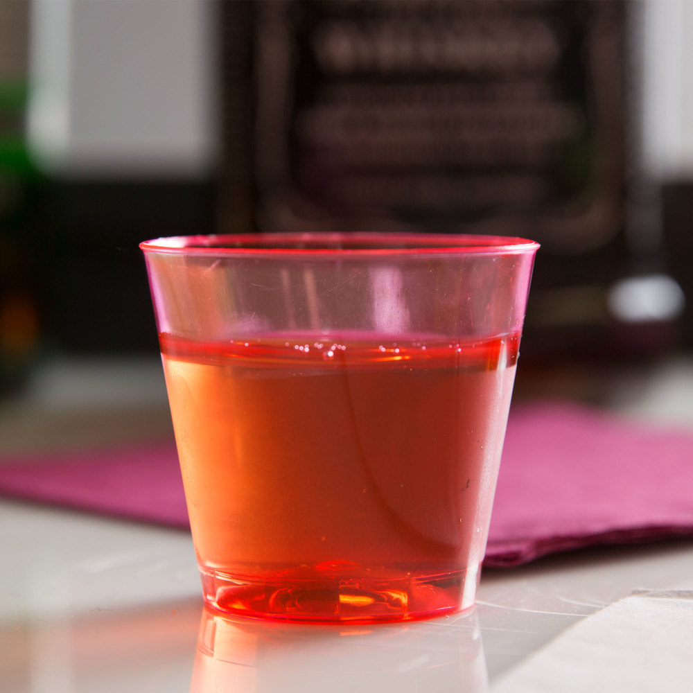 Fineline Quenchers 401-RD 1 oz. Neon Red Hard Plastic Shot Cup - 50/Pack