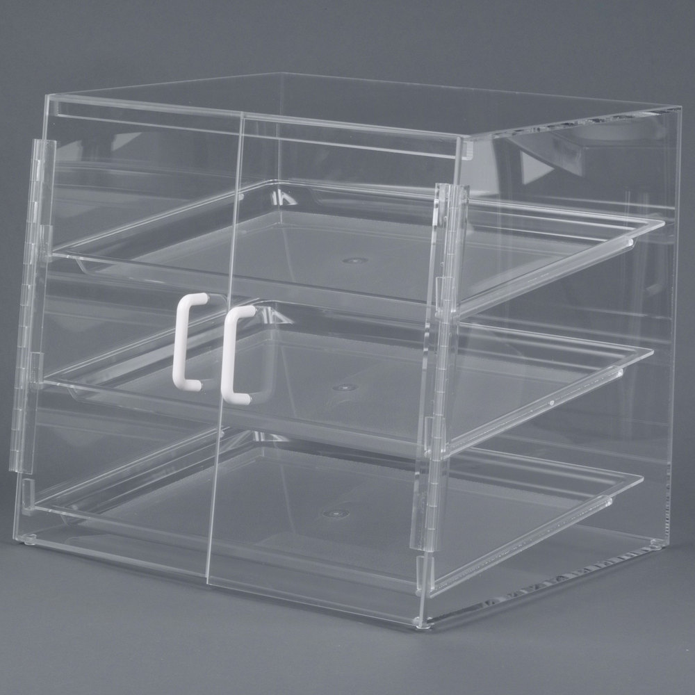 "Cal-Mil P241SS Three Tier Slanted Front Acrylic Display Case - 19"" x 17"" x 18"""