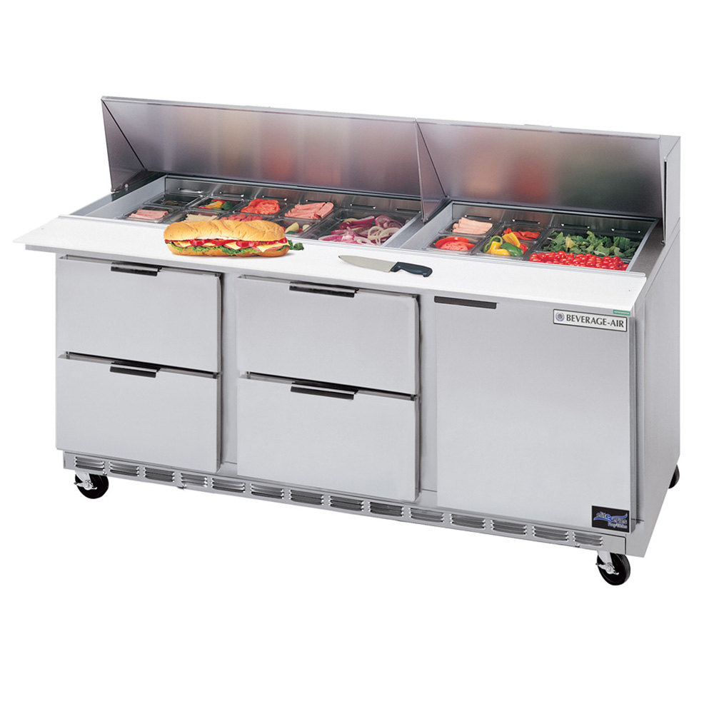 "Beverage-Air SPED72-18-4 72"" Refrigerated Salad / Sandwich Prep Table with One Door and Four Drawers"