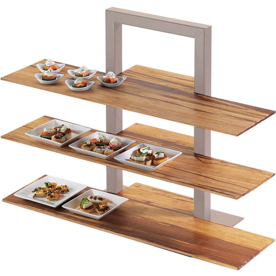 "Cal-Mil 1449-68 Crushed Bamboo 11 1/2"" x 32"" Shelf for 3 Tier Frame Riser"
