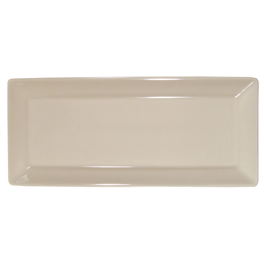 "Homer Laughlin 7800 Times Square 11 9/16"" x 5"" Ivory (American White) Rectangular China Tray - 12/Case"