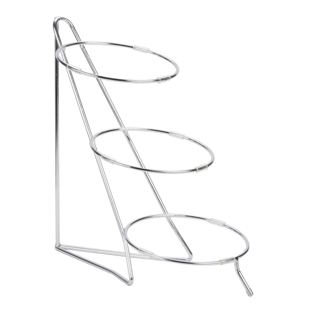 "Cal-Mil C1223-10 Chrome Iron Three Tier Round Bowl Stand - 10"" x 18"" x 18"""
