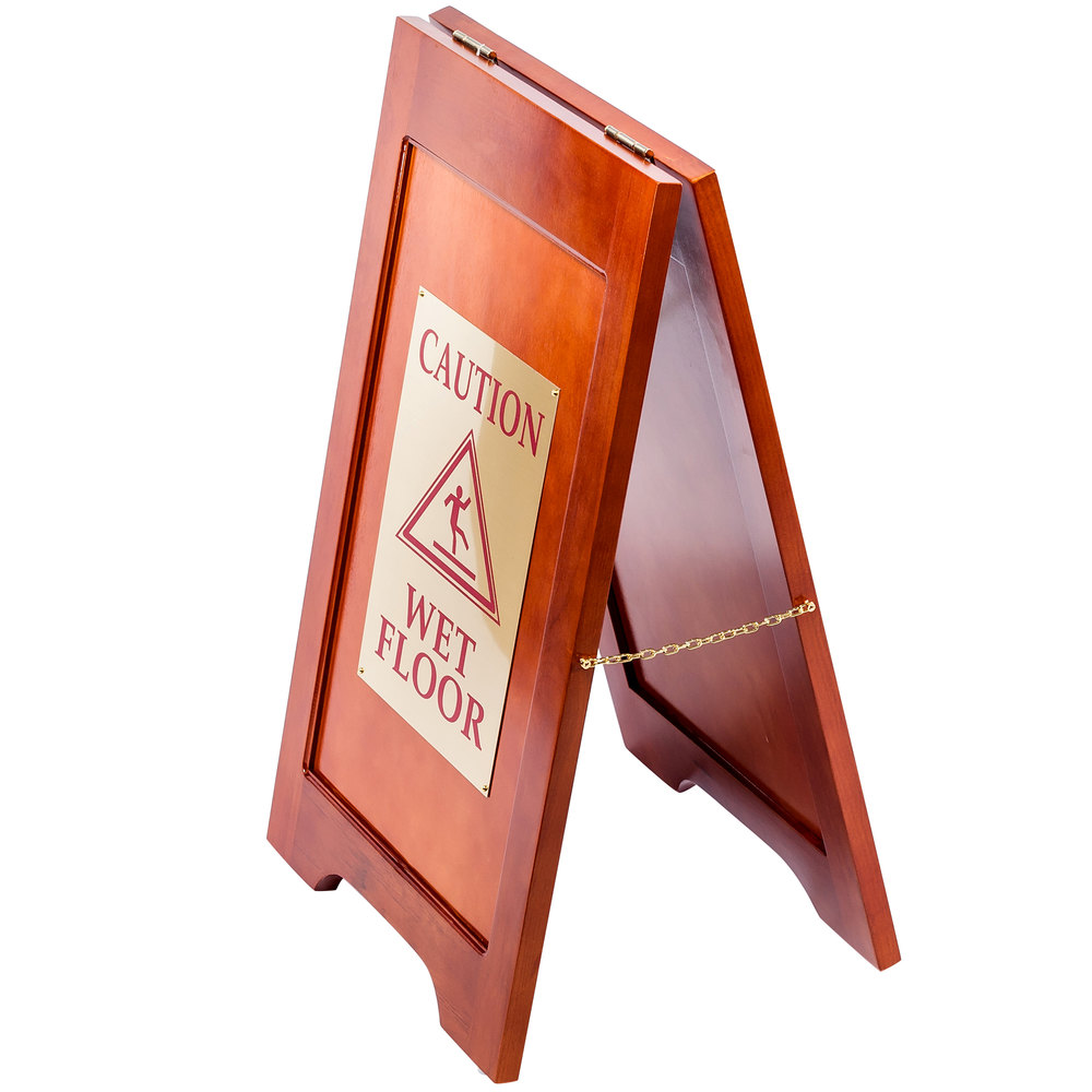 "Wooden Wet Floor Sign with Mahogany Finish - 24"" x 14"""