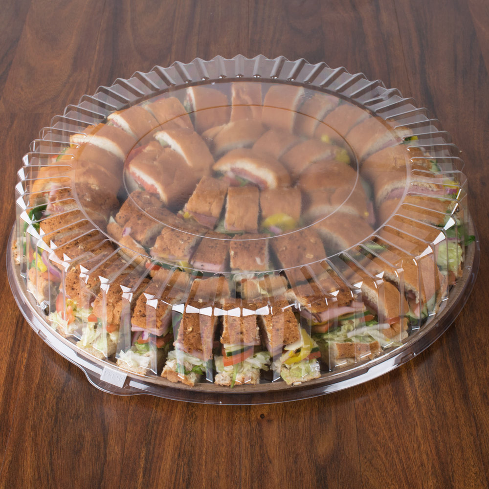 "18"" Clear Dome Catering / Deli Tray Lid 25/Case"