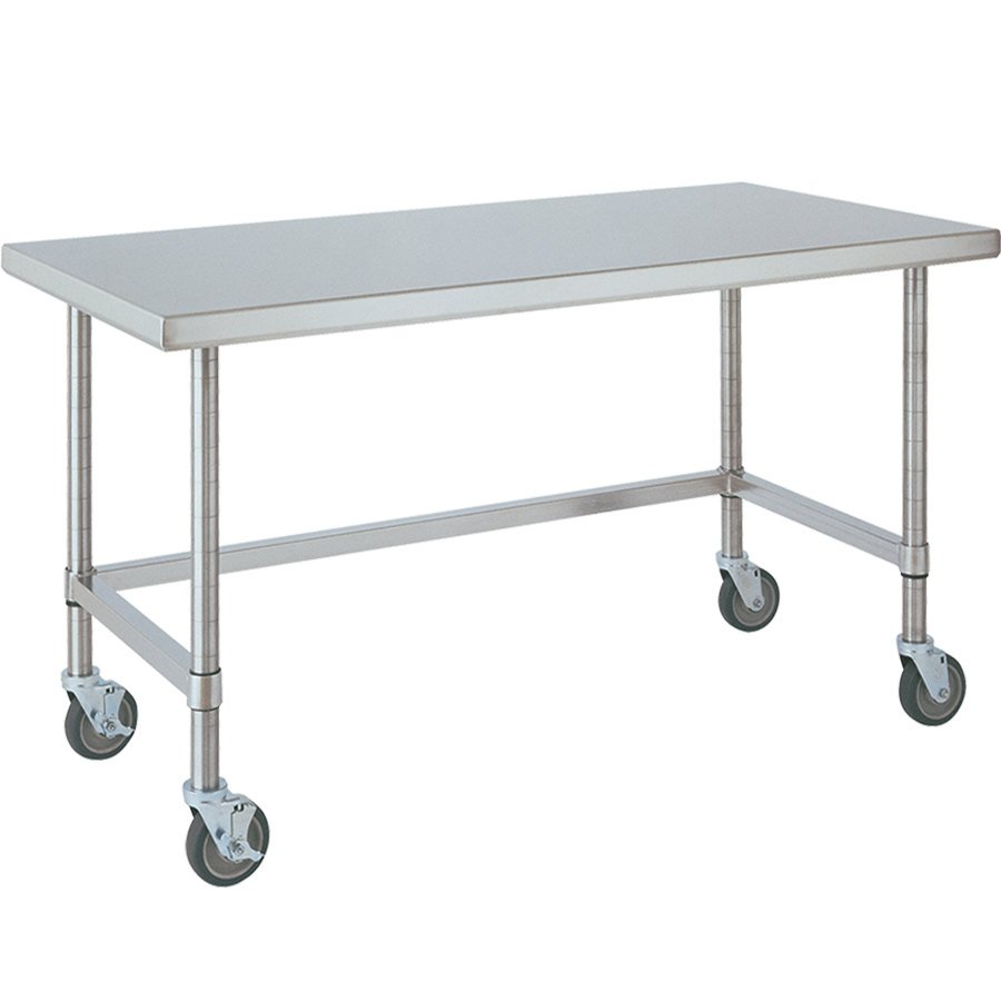 "14 Gauge Metro MWT305US 30"" x 48"" HD Super Open Base Stainless Steel Mobile Work Table"