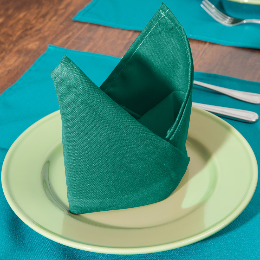 "20"" x 20"" Green Hemmed Polyspun Cloth Napkin - 12 / Pack"