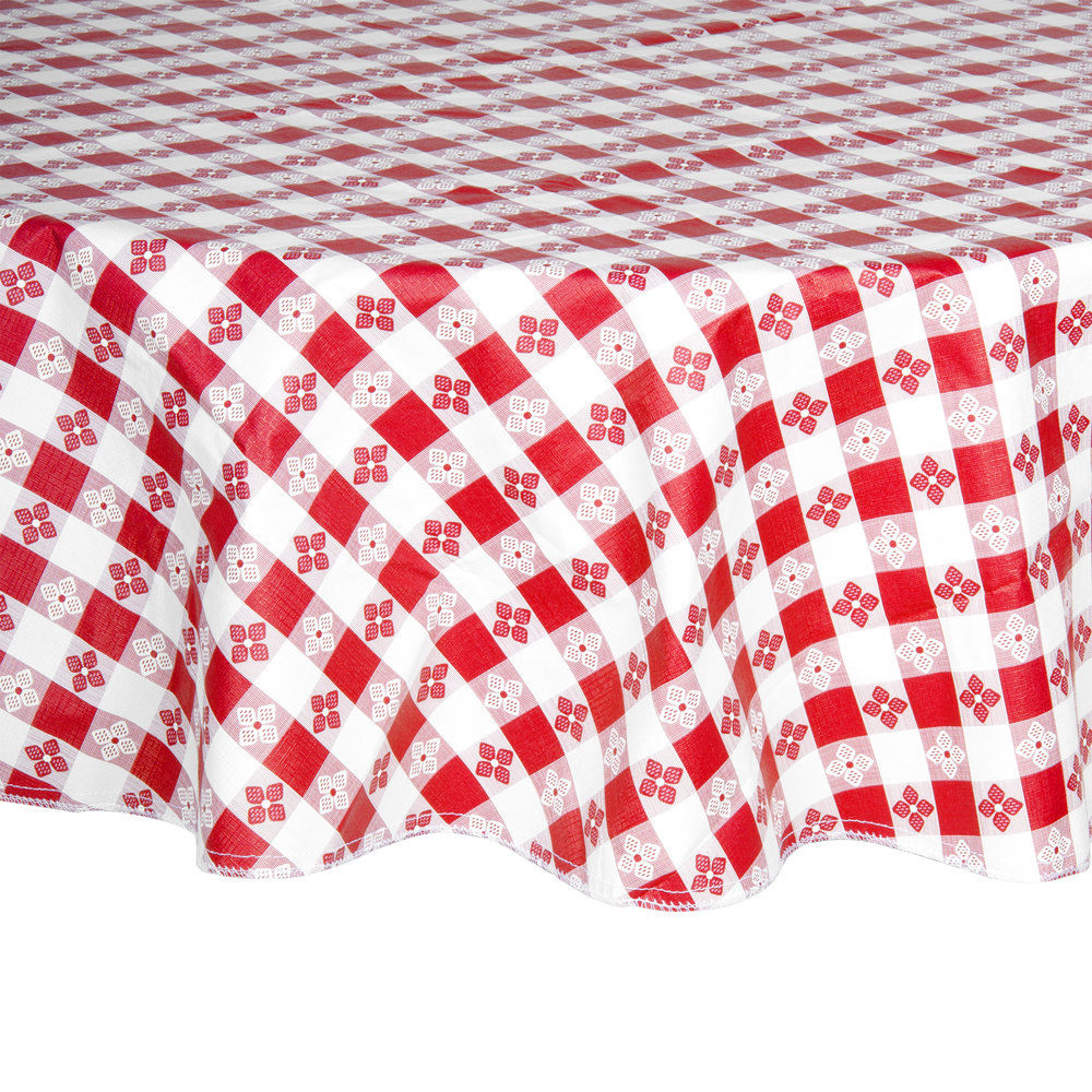 60 Quot Round Red Checkered Vinyl Table Cover With Flannel Back