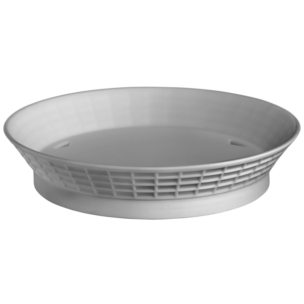 "Tablecraft 15759GM 9"" Gunmetal Diner Platter / Fast Food Basket with Base - 12/Pack"