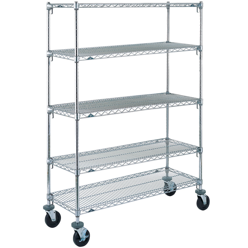 "Metro 5A366BC Super Adjustable Chrome 5 Tier Mobile Shelving Unit with Rubber Casters - 18"" x 60"" x 69"""