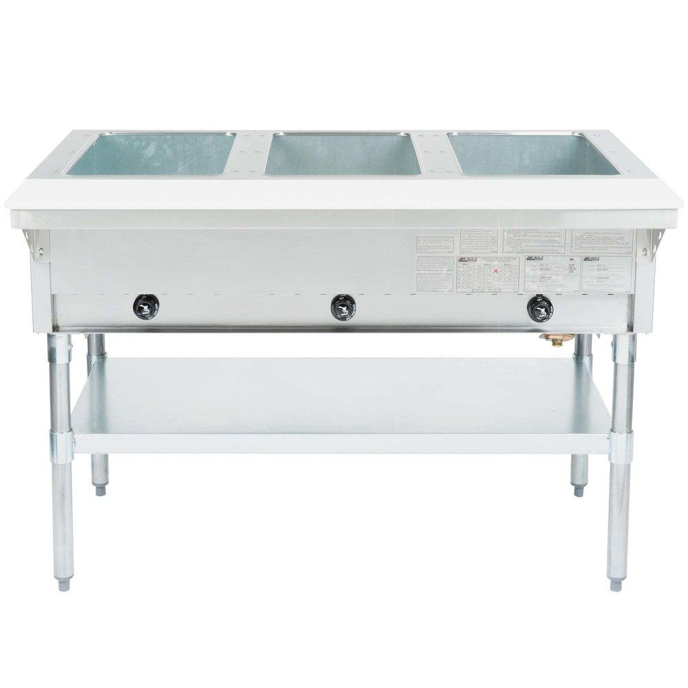 Eagle Group HT3 Liquid Propane Steam Table Three Pan 10,500 BTU   Open Well