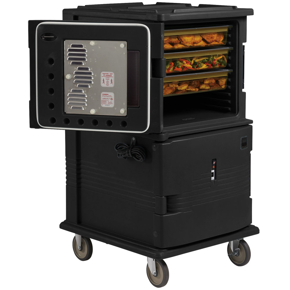 Cambro UPCHT1600110 Black Ultra Camcart Two Compartment Heated Holding Pan Carrier with Casters, Top Compartment Heated - 110V
