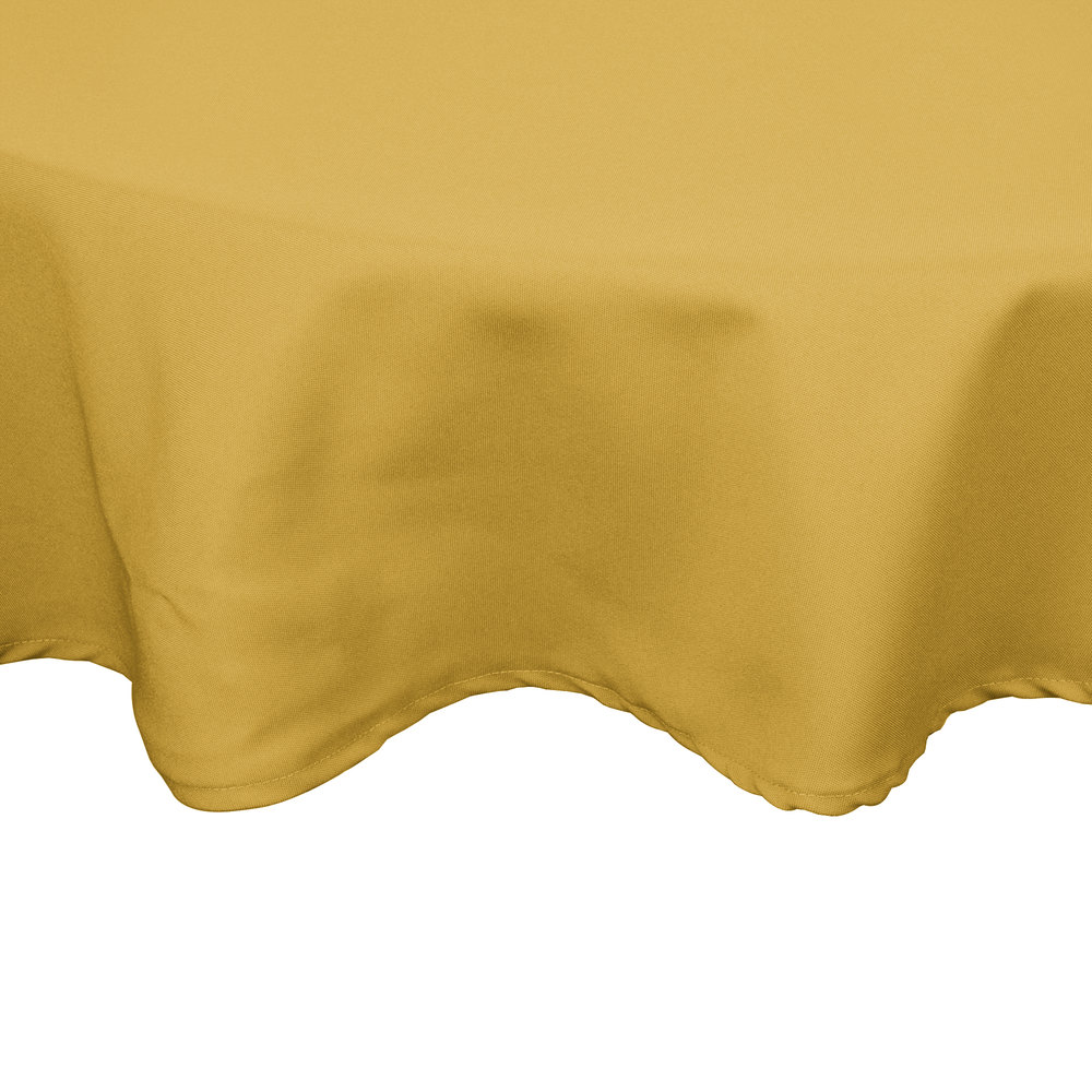 "54"" Yellow Round Hemmed Polyspun Cloth Table Cover"