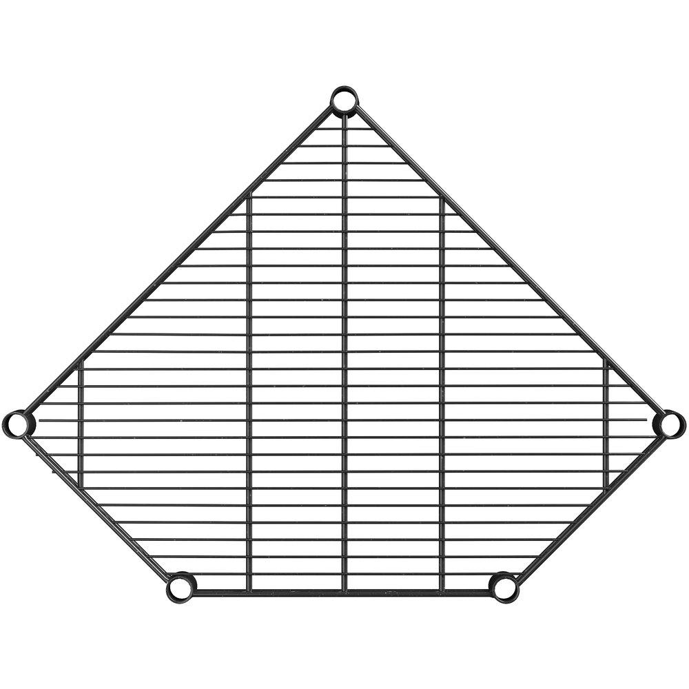 Regency 24 inch Deep NSF Black Epoxy Wire Pentagon Corner Shelf