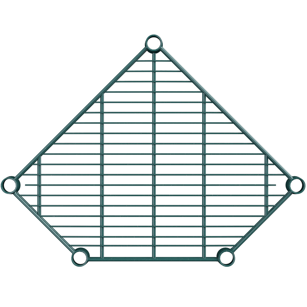 Regency 18 inch Deep NSF Green Epoxy Wire Pentagon Corner Shelf