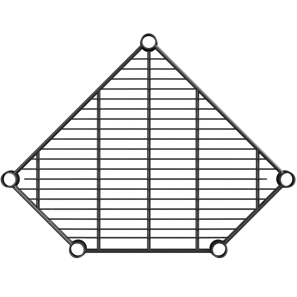 Regency 18 inch Deep NSF Black Epoxy Wire Pentagon Corner Shelf