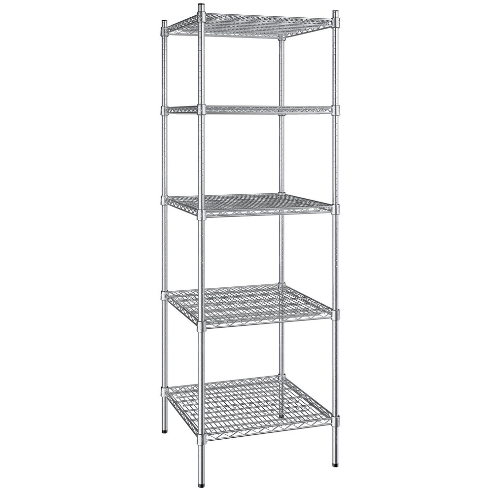 Regency 24 inch x 24 inch NSF Stainless Steel 5-Shelf Kit with 74 inch Posts