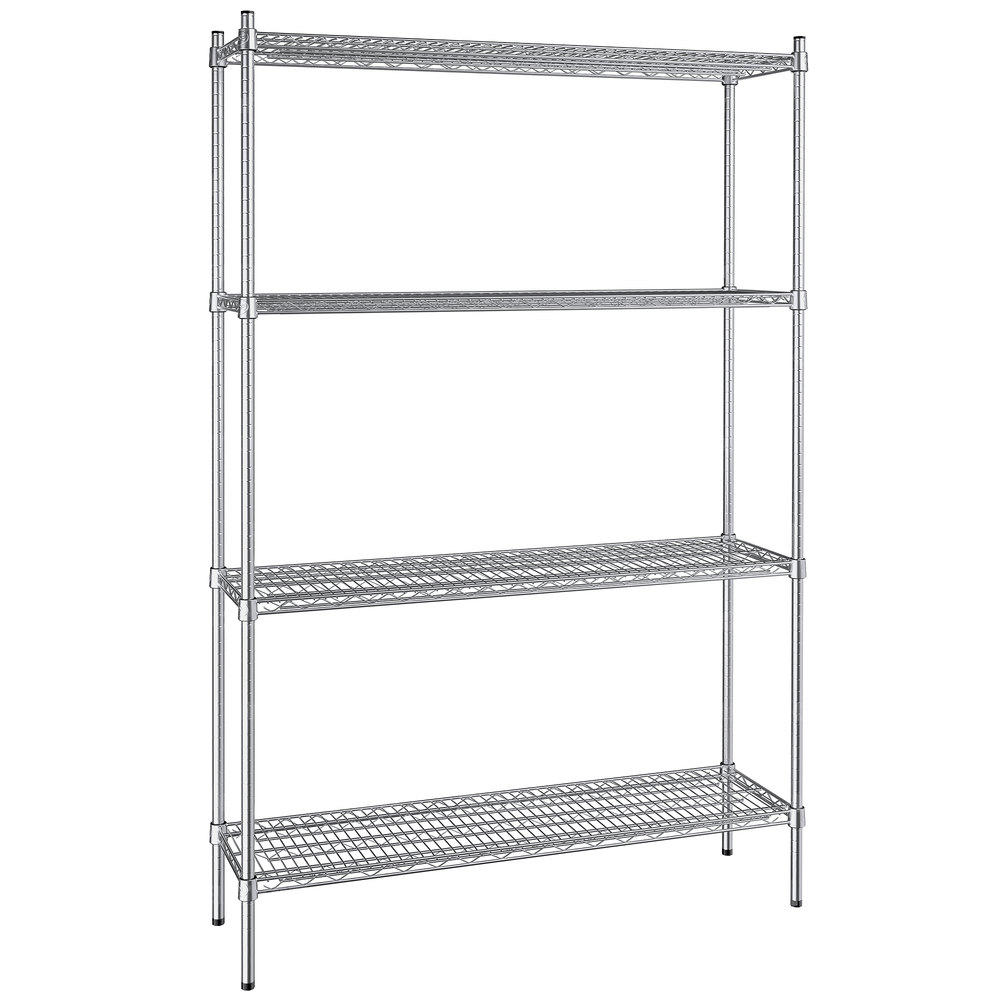 Regency 14 inch x 48 inch NSF Stainless Steel 4-Shelf Kit with 74 inch Posts