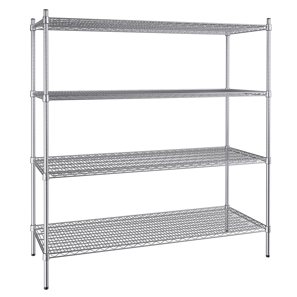 Regency 24 inch x 60 inch NSF Stainless Steel 4-Shelf Kit with 64 inch Posts