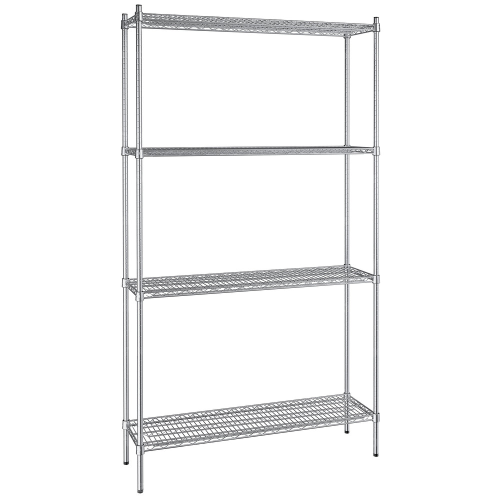 Regency 14 inch x 48 inch NSF Stainless Steel 4-Shelf Kit with 86 inch Posts