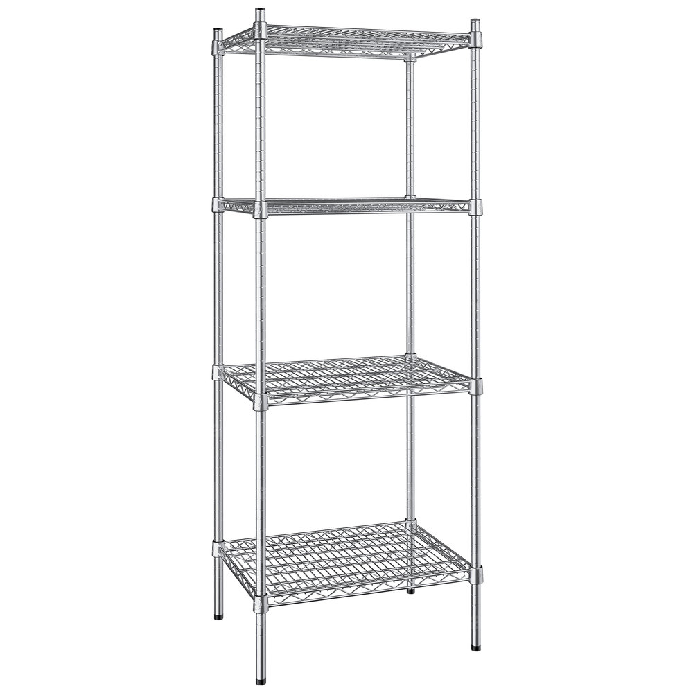 Regency 18 inch x 24 inch NSF Stainless Steel 4-Shelf Kit with 64 inch Posts