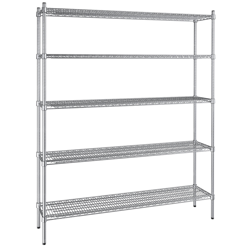 Regency 14 inch x 60 inch NSF Stainless Steel 5-Shelf Kit with 74 inch Posts