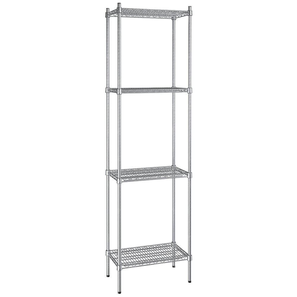 Regency 14 inch x 24 inch NSF Stainless Steel 4-Shelf Kit with 86 inch Posts