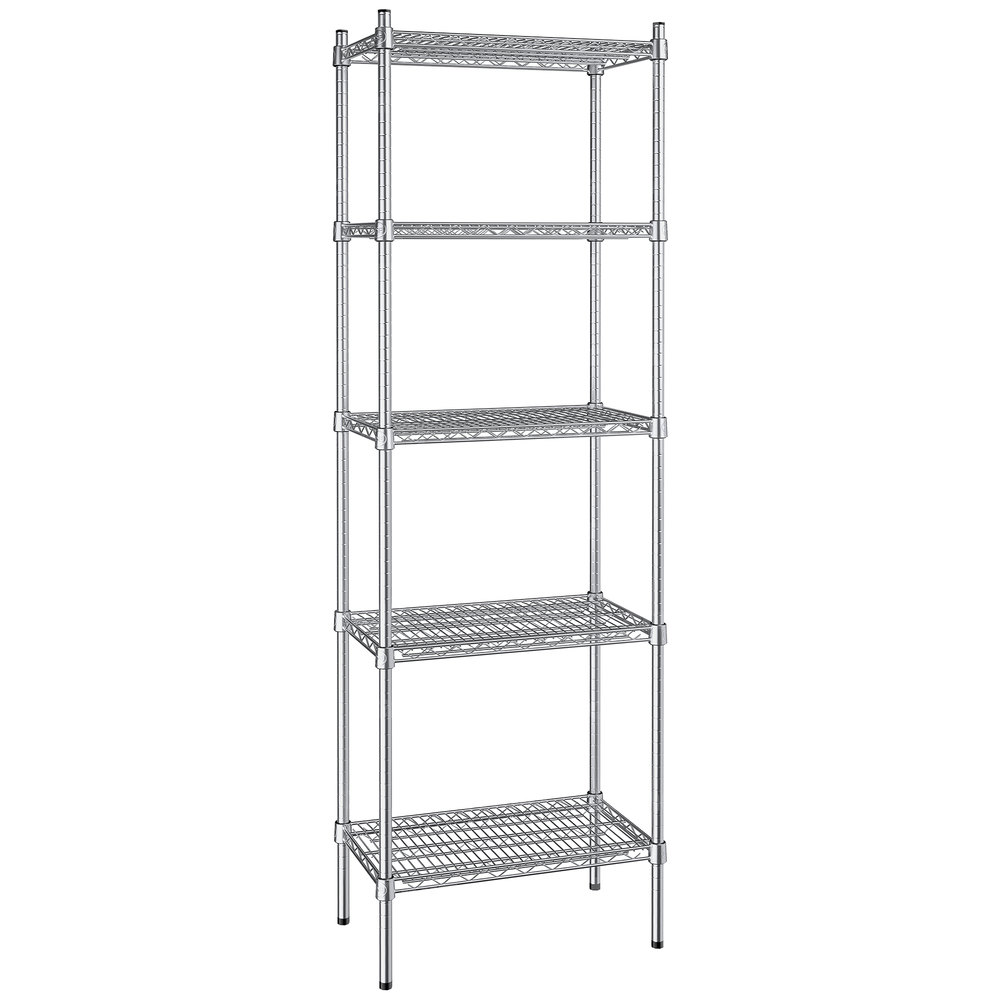 Regency 14 inch x 24 inch NSF Stainless Steel 5-Shelf Kit with 74 inch Posts
