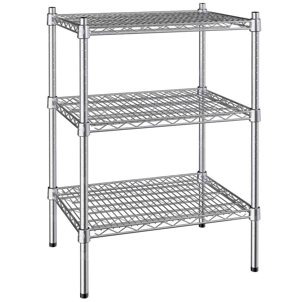 Regency 18 inch x 24 inch NSF Stainless Steel 3-Shelf Kit with 34 inch Posts
