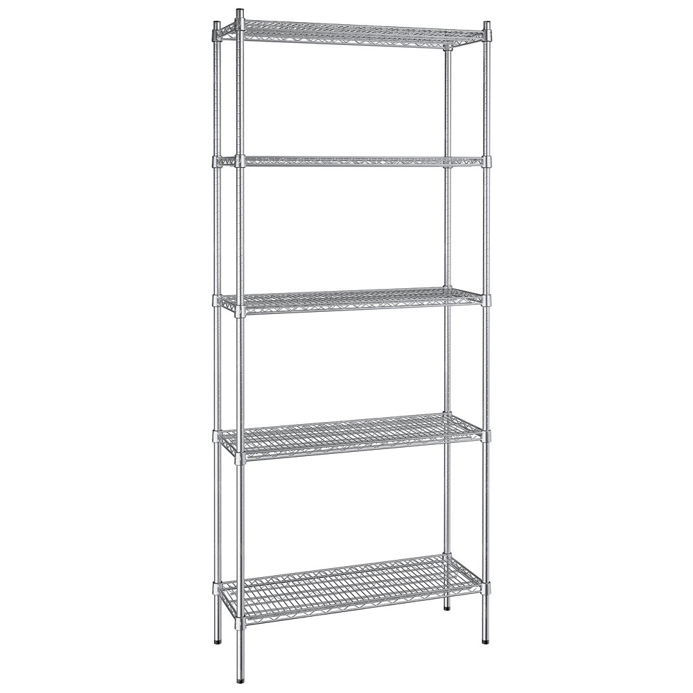 Regency 14 inch x 36 inch NSF Stainless Steel 5-Shelf Kit with 86 inch Posts