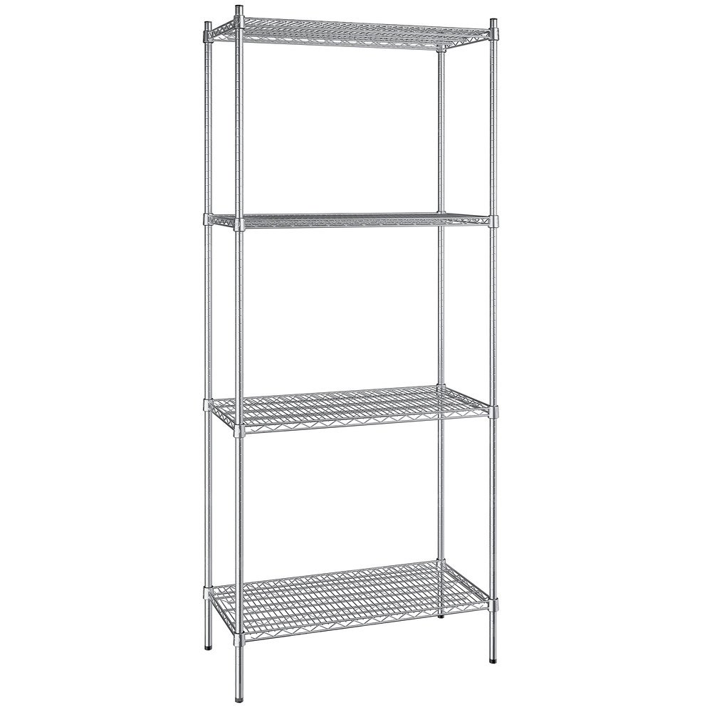 Regency 18 inch x 36 inch NSF Stainless Steel 4-Shelf Kit with 86 inch Posts