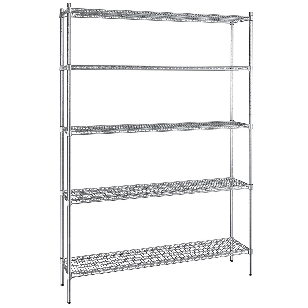 Regency 14 inch x 60 inch NSF Stainless Steel 5-Shelf Kit with 86 inch Posts