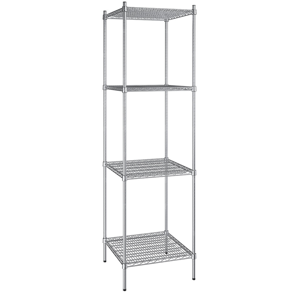 Regency 24 inch x 24 inch NSF Stainless Steel 4-Shelf Kit with 86 inch Posts