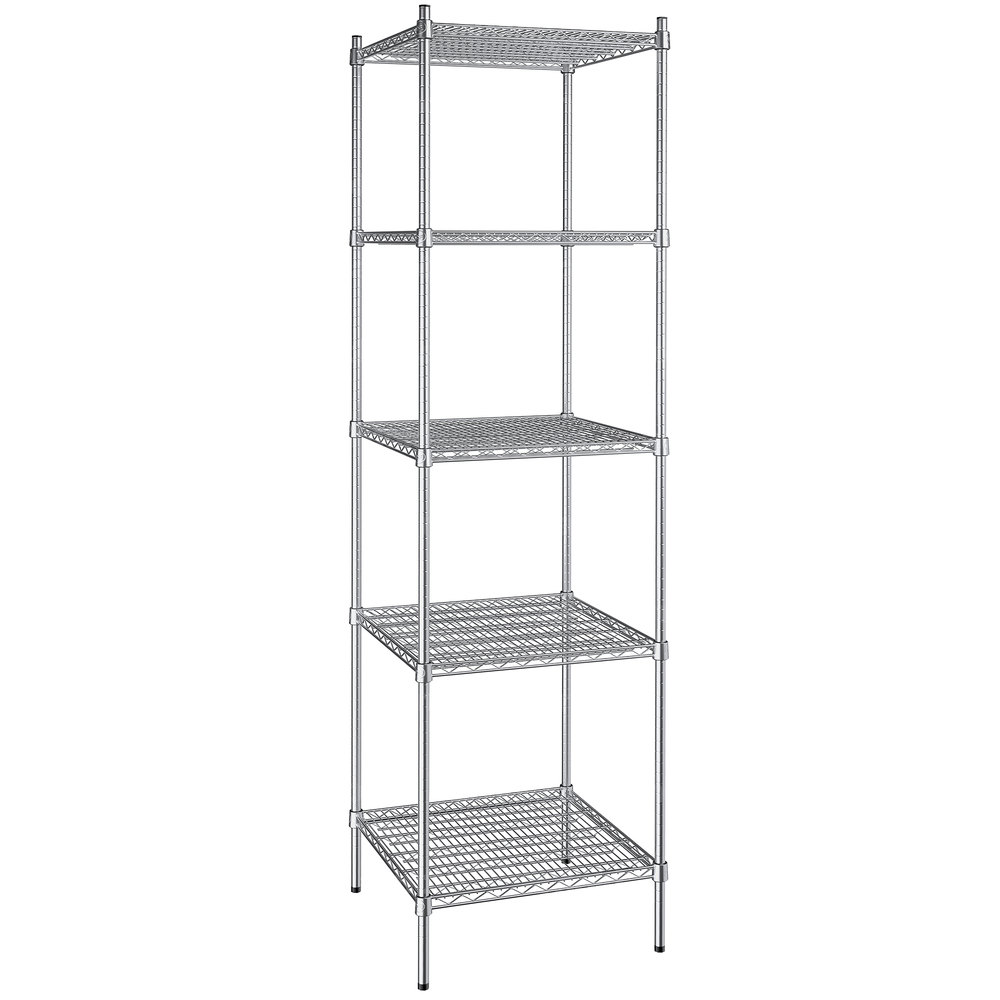 Regency 24 inch x 24 inch NSF Stainless Steel 5-Shelf Kit with 86 inch Posts