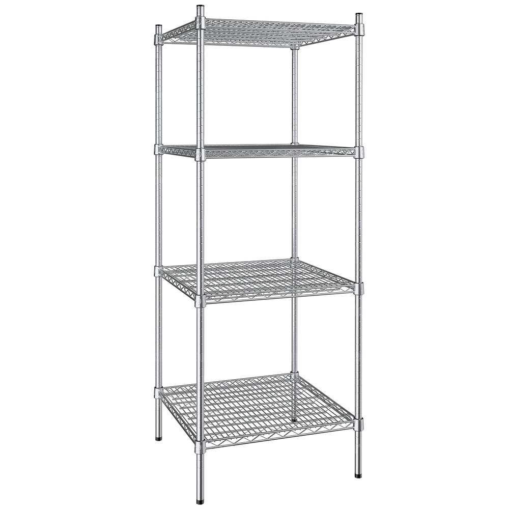 Regency 24 inch x 24 inch NSF Stainless Steel 4-Shelf Kit with 64 inch Posts