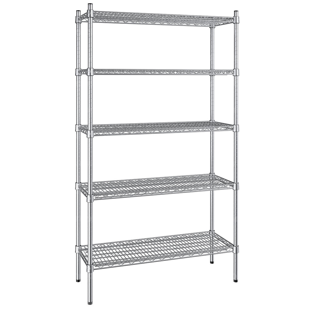 Regency 14 inch x 36 inch NSF Stainless Steel 5-Shelf Kit with 64 inch Posts