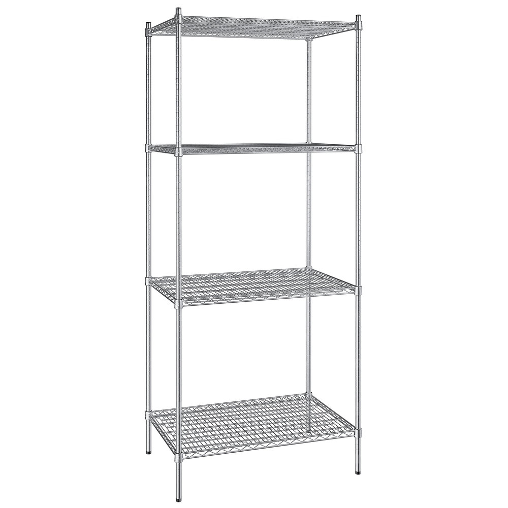 Regency 24 inch x 36 inch NSF Stainless Steel 4-Shelf Kit with 86 inch Posts