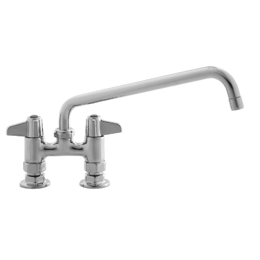 "Equip by T&S 5F-4DLX06 Deck Mount Swivel Base Mixing Faucet with 6"" Swivel Nozzle 4"" Centers - ADA Compliant"