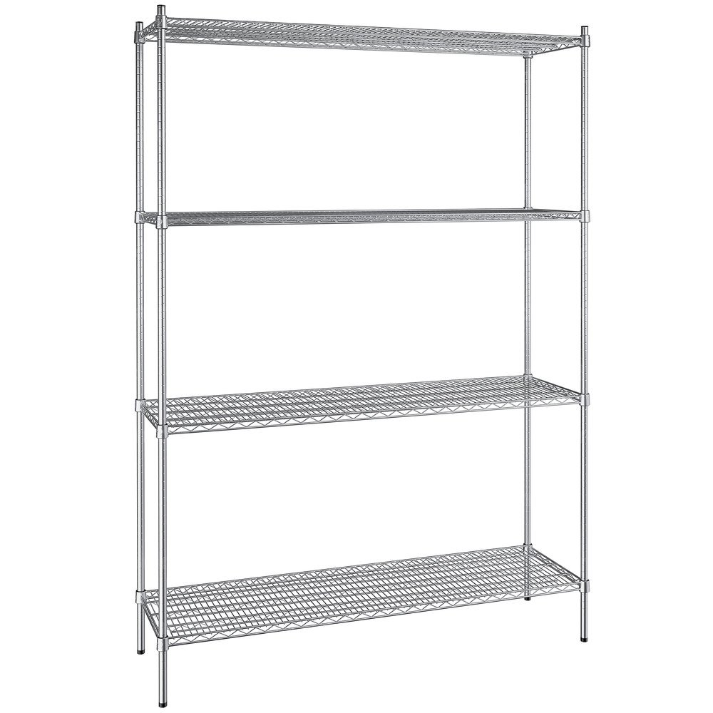 Regency 18 inch x 60 inch NSF Stainless Steel 4-Shelf Kit with 86 inch Posts
