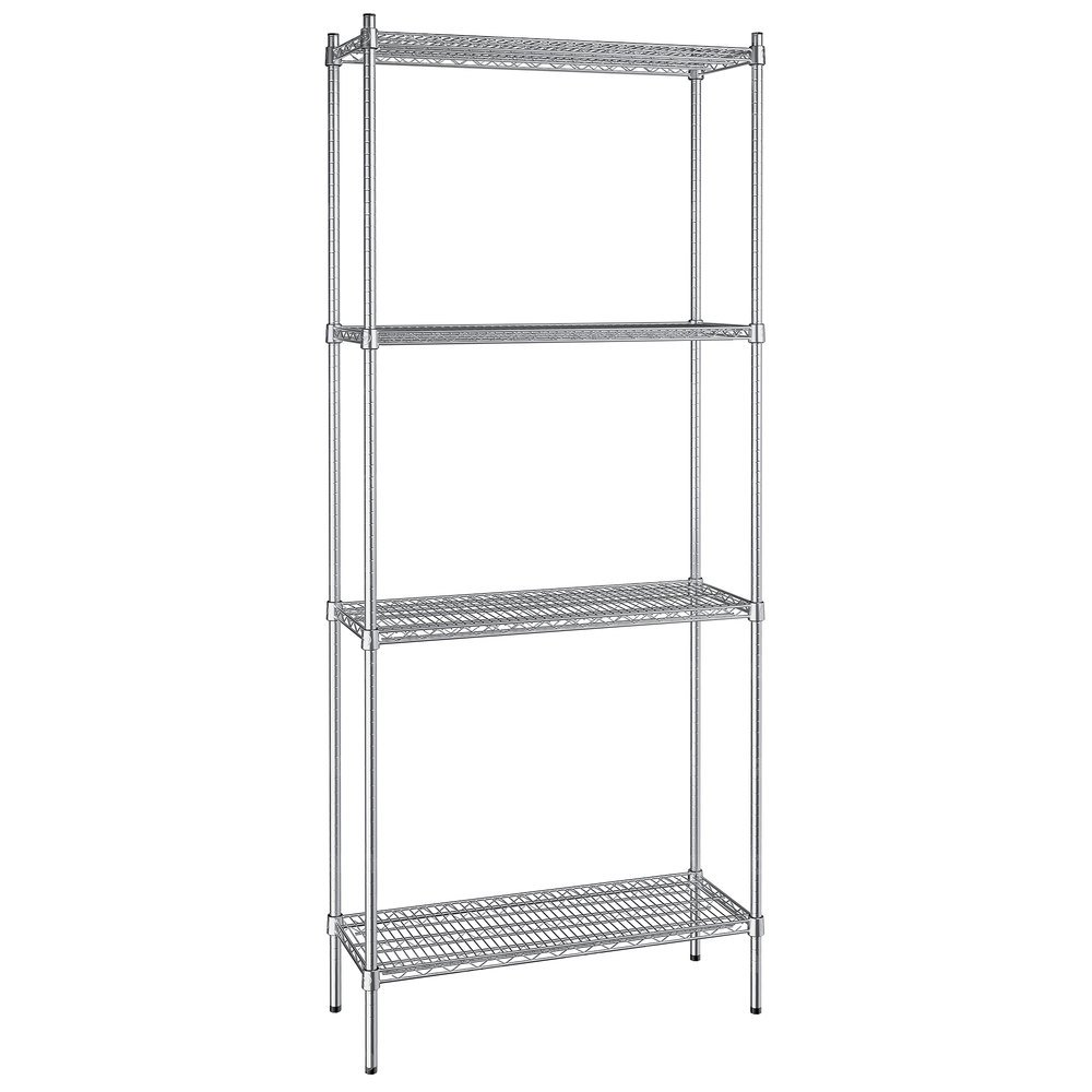 Regency 14 inch x 36 inch NSF Stainless Steel 4-Shelf Kit with 86 inch Posts