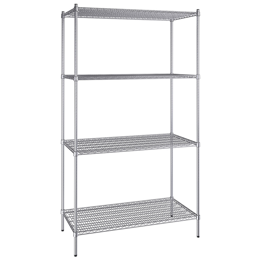Regency 24 inch x 48 inch NSF Stainless Steel 4-Shelf Kit with 86 inch Posts