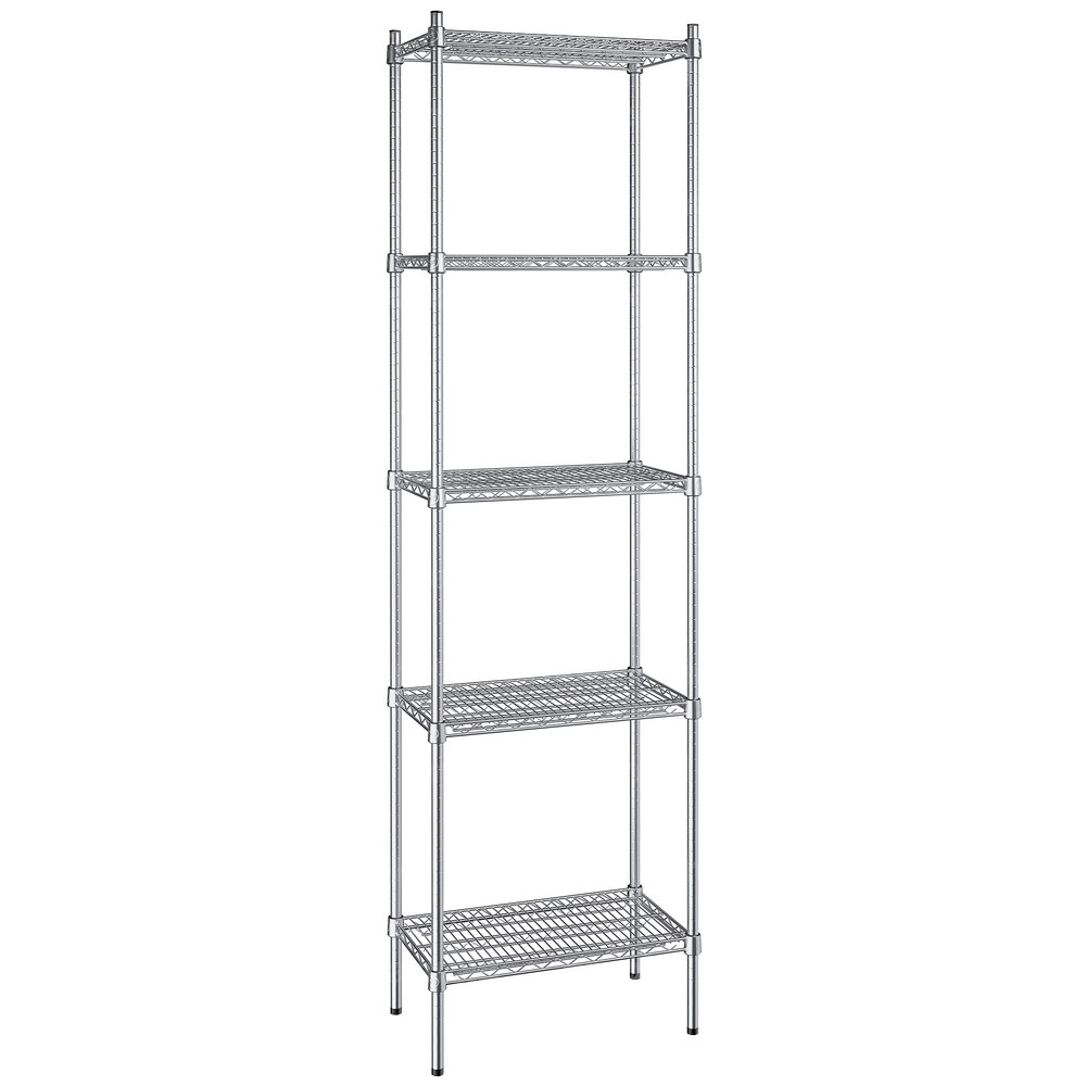 Regency 14 inch x 24 inch NSF Stainless Steel 5-Shelf Kit with 86 inch Posts