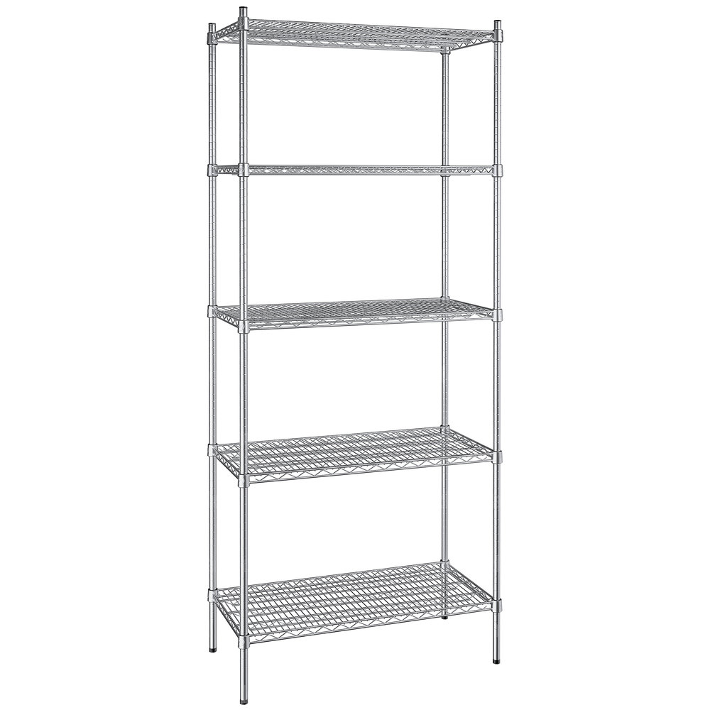 Regency 18 inch x 36 inch NSF Stainless Steel 5-Shelf Kit with 86 inch Posts