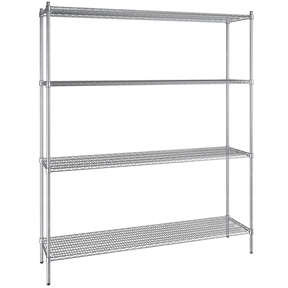 Regency 18 inch x 72 inch NSF Stainless Steel 4-Shelf Kit with 86 inch Posts