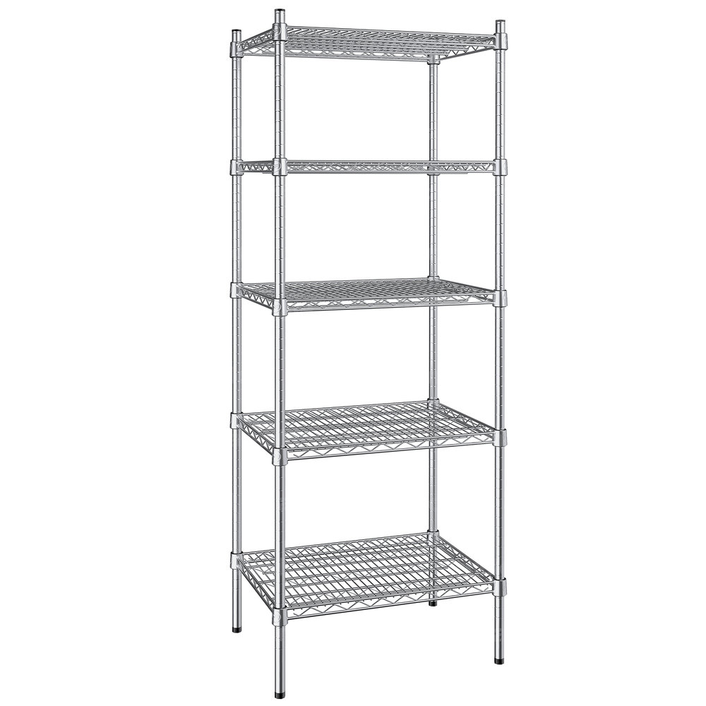 Regency 18 inch x 24 inch NSF Stainless Steel 5-Shelf Kit with 64 inch Posts