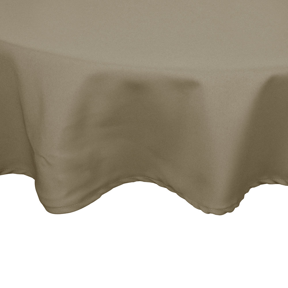 "54"" Beige Round Hemmed Polyspun Cloth Table Cover"