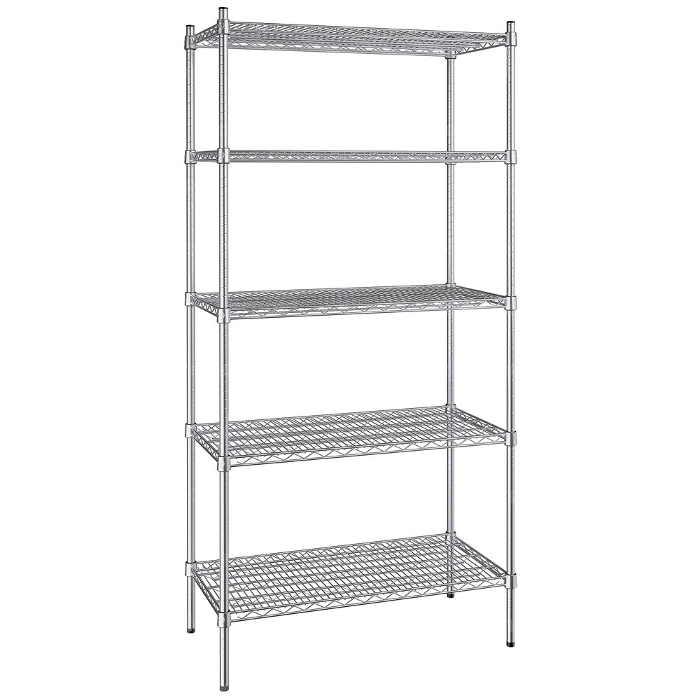 Regency 18 inch x 36 inch NSF Stainless Steel 5-Shelf Kit with 74 inch Posts