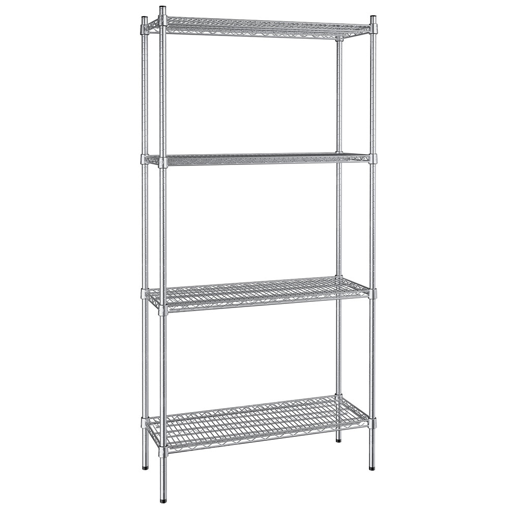 Regency 14 inch x 36 inch NSF Stainless Steel 4-Shelf Kit with 74 inch Posts