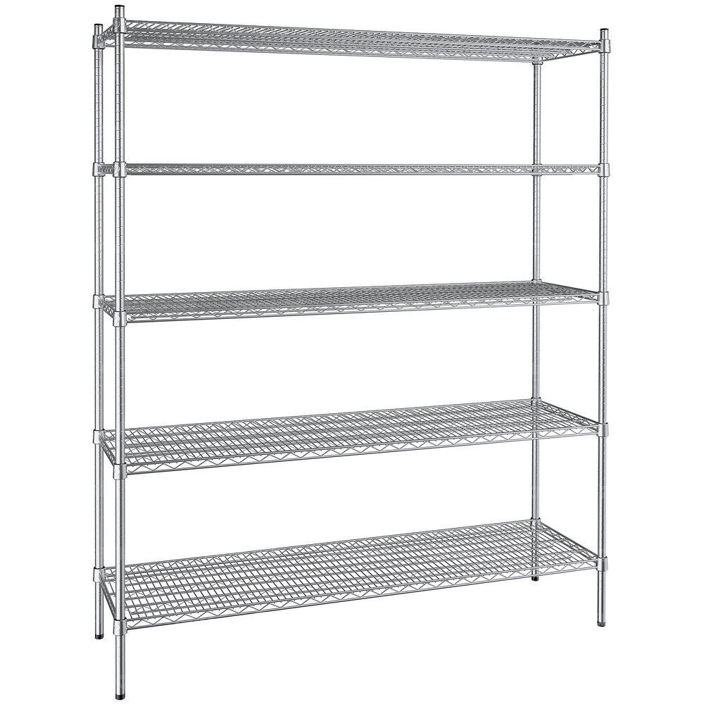 Regency 18 inch x 60 inch NSF Stainless Steel 5-Shelf Kit with 74 inch Posts