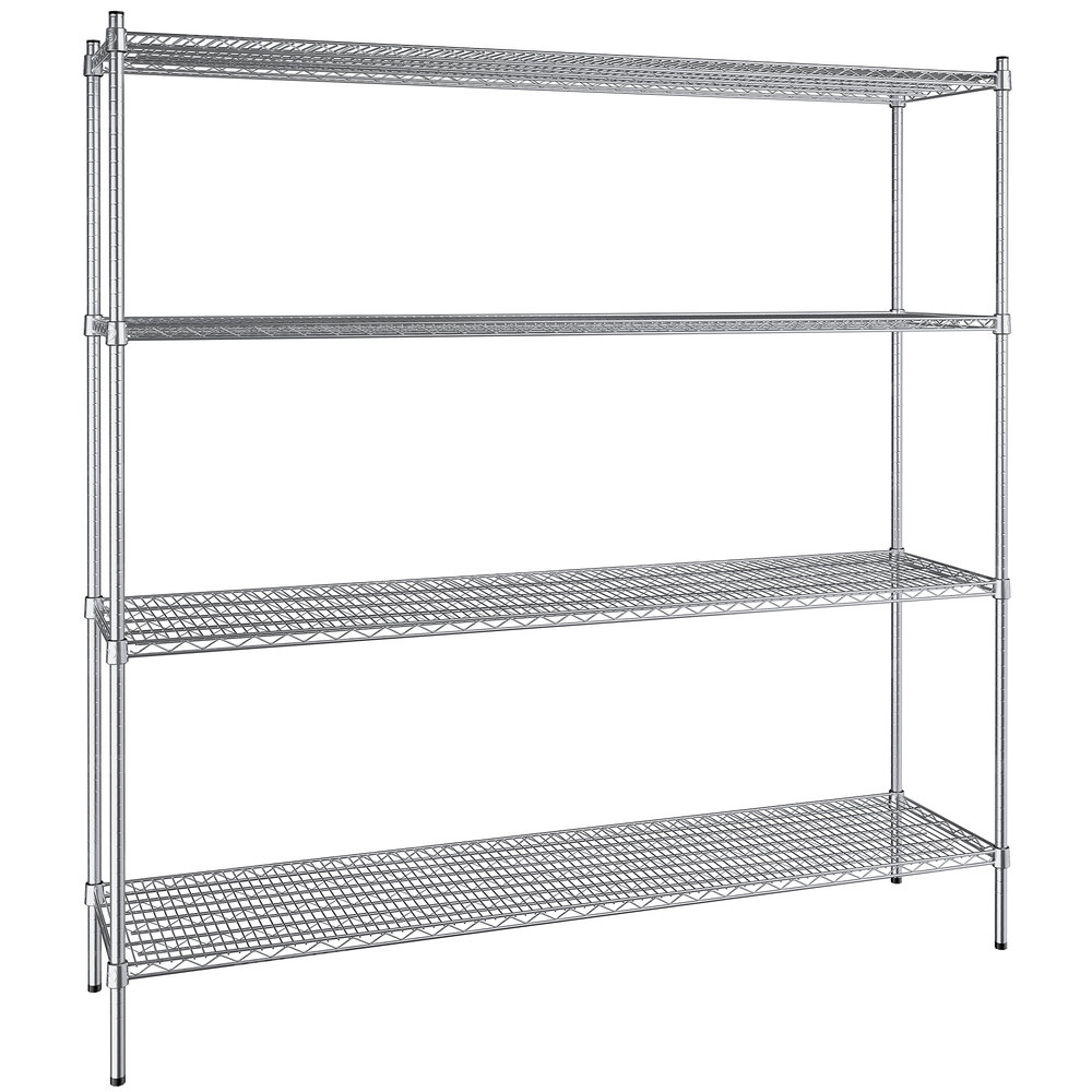 Regency 18 inch x 72 inch NSF Stainless Steel 4-Shelf Kit with 74 inch Posts